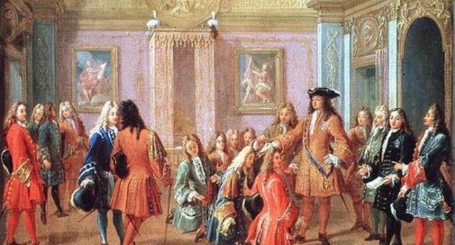 Schilderij datt het ochtendritueel van Louis XIV weergeeft